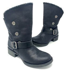 Blowfish Boots Black Booties Buckle Button Womens